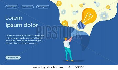 Enlightenment Flat Landing Page Vector Template. Fresh Look, Idea Discovery, Solution Vision Metapho