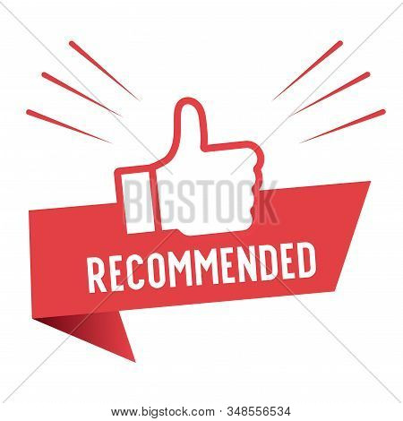 Recommend Icon Design. Red Label Recommend With Thumb Up Icon In Trendy Flat Style Design. Vector Il