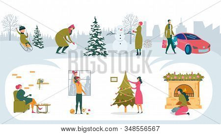 Bundle Happy Family Pastime Home And Outdoors. Boy Sledding. Girl Making Snowman. Man Carries Packag