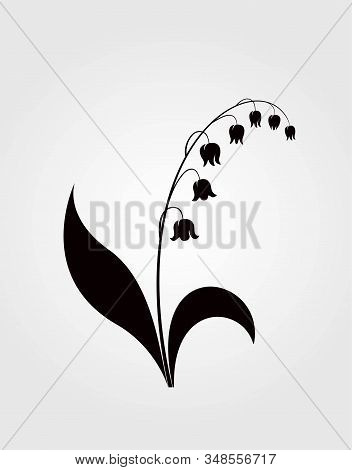 Lily Of The Valley Flower Vector Black Silhouette. Isolated Spring Floral Element For Design