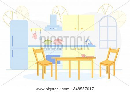Retro Kitchen And Dining Room Interior With Furniture, Household Devices And Dining Table. Cooking P