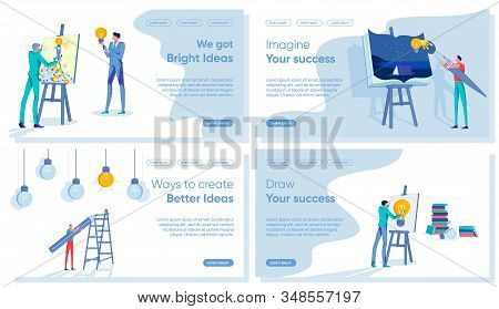 Creative Ideas For Business Suggestion And Finding Way For Strategy Realization Set. Mediation Betwe