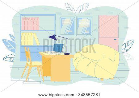 School Principal Office Interior Location. Workplace Of Teacher, Psychologist, Educator, Headmaster.