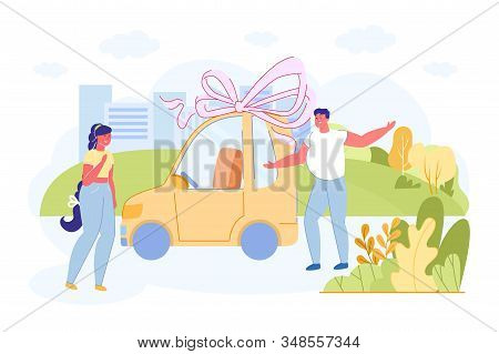 Informational Flyer, Surprise Gift To Girlfriend. Man Bestow Woman Car, Beautiful Big Bow Is Tied. H