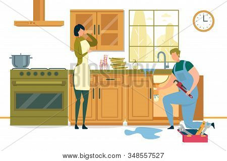 Woman And Call Master At Home With Broken Sink On Kitchen.housewife Calling Plumber To Fix Burst Pip