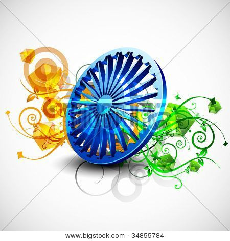 Indian flag color creative floral background with 3D Asoka wheel. EPS 10.