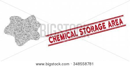 Mosaic Dirt Spot Icon And Red Chemical Storage Area Stamp Between Double Parallel Lines. Flat Vector