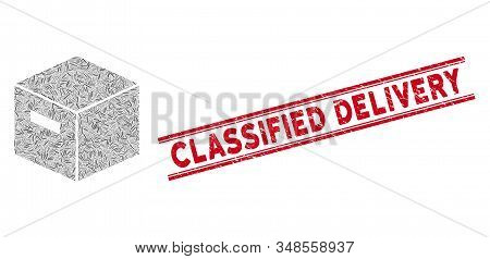 Mosaic Goods Box Icon And Red Classified Delivery Seal Stamp Between Double Parallel Lines. Flat Vec