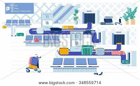 Airport Luggage Conveyor Belts With Suitcases And Carts. Baggage Claim Department Or Zone In Air Ter