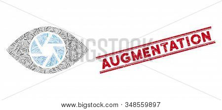 Mosaic Shutter Eye Icon And Red Augmentation Seal Stamp Between Double Parallel Lines. Flat Vector S