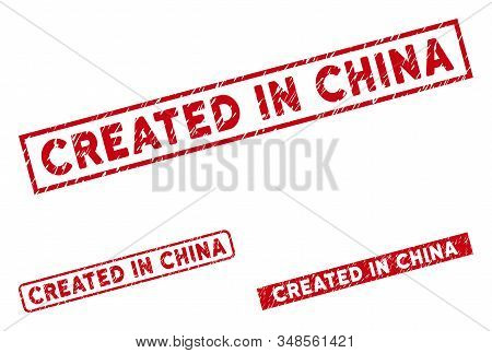 Created In China Stamps. Red Vector Rectangle Grunge Stamps With Created In China Phrase. Useful For