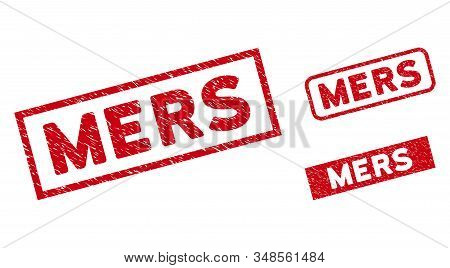 Mers Stamps. Red Vector Rectangular Distress Seal Stamps With Mers Phrase. Useful For Rubber Imitati