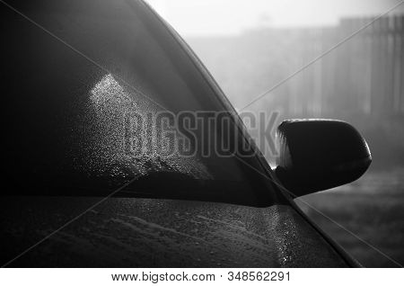 The Car Is Covered In Drops After Heavy Rain