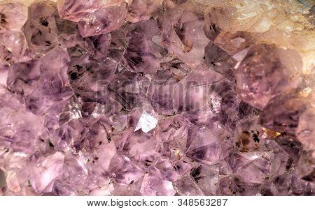 Purple Amethyst Cluster Geode Crystal Quartz Background