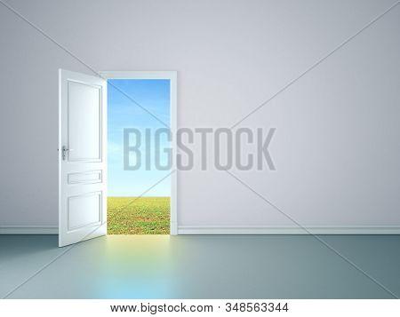 White Room Interior With Open Door Tofield. Mock Up, 3d Rendering