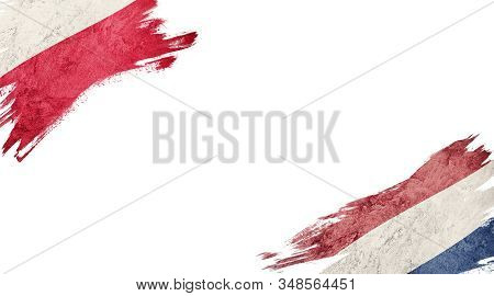 Flags Of Poland And Nederland On White Background