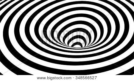 Optical Illusion Tunnel. Abstract 3d Black And White Illusions. Horizontal Lines Stripes Pattern Or