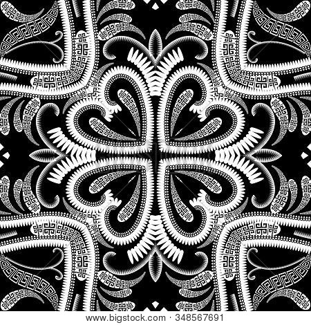Floral Greek Vector Seamless Pattern. Paisley Flowers Background With Greek Key Meander Ornament. Mo