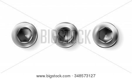 Set Metal Imbus Screw, Bolt With A Cylindrical Head. Shiny Cap Twisted In Surface Isolated On White