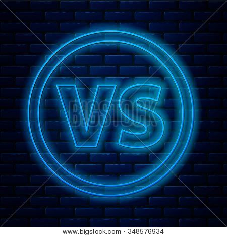 Glowing Neon Line Vs Versus Battle Icon Isolated On Brick Wall Background. Competition Vs Match Game
