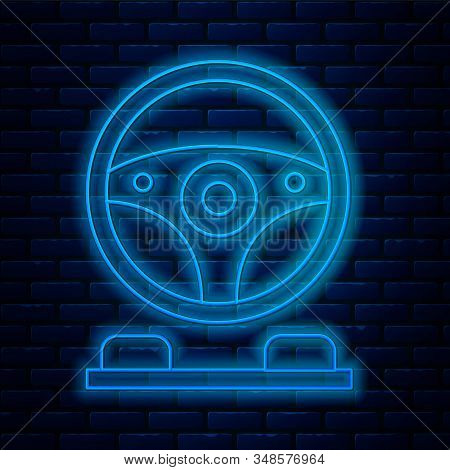 Glowing Neon Line Racing Simulator Cockpit Icon Isolated On Brick Wall Background. Gaming Accessory.