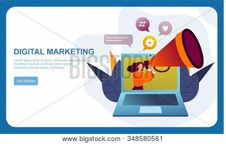 Flat Design Digital Marketing Smm, Influencer Online Advertising Vector Illustration