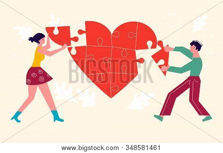 Metaphor Of Love, Betrayal And Relationship. Man And Woman Collects A Heart Puzzle. Connect A Broken