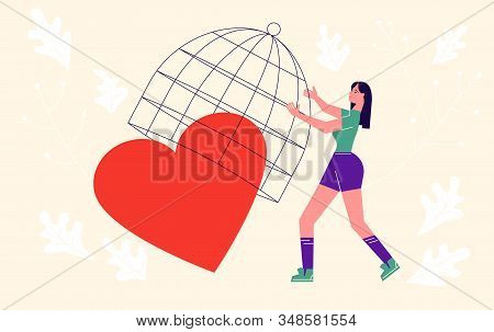 Metaphor Of Love, Betrayal And Relationship. Woman Locks The Heart In A Cage. Connect A Broken Heart