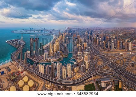 Aerial View Of Dubai Marina And Highways, Downtown Skyline, United Arab Emirates Or Uae. Financial D