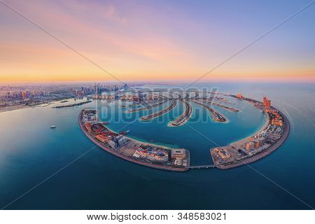 Aerial View Of The Palm Jumeirah Island, Dubai Downtown Skyline, United Arab Emirates Or Uae. Financ