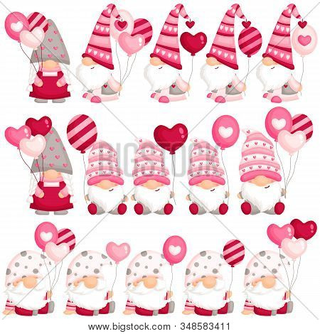 A Vector Set Of Cute Valentine Gnome Holding Balloons For Sweet Celebration