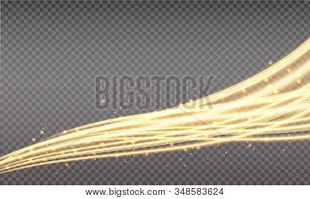 Golden Swoosh, Magic Wave. Gold Trail Isolated On Transparent Background. Luminescent Waved Trail Wi