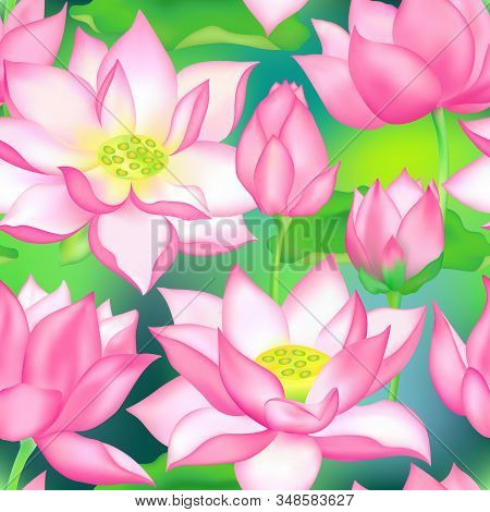 Lotus Buds And Flowers Seamless Fabric Print. Water Lilly Nelumbo Aquatic Plant Packaging Design. Sa