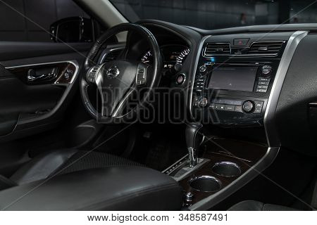 Novosibirsk, Russia - December 01, 2019:  Nissan Teana,  Close-up Of The Dashboard, Player, Steering