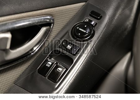 Novosibirsk, Russia - December 18, 2019:  Hyundai Grand Starex,  Close Up Of A Door Control Panel In