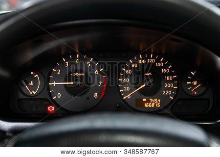 Novosibirsk, Russia - December 06, 2019:  Nissan Almera, Dashboard Of The Car Is Illuminated By Brig