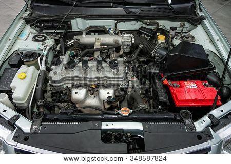 Novosibirsk, Russia - December 06, 2019:  Nissan Almera,  Closeup Of A Clean Motor Block, . Internal
