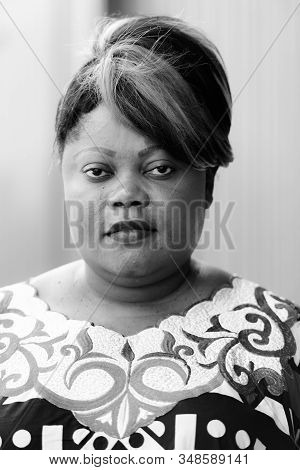 Face Of Beautiful Overweight African Woman Outdoors