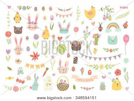 Unique Vector Easter Clipart With Hand Drawn Easter Elements. Isolated Cute Spring Cartoon Clip Art