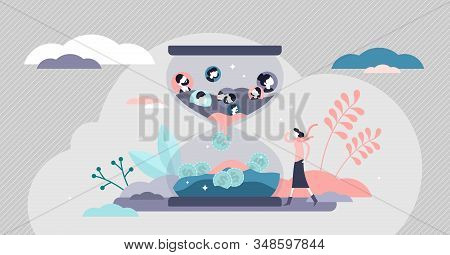 Converting Customers Sales Process Concept, Flat Tiny Persons Vector Illustration. Lead Monetization