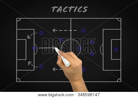 Football Tactics Coaching Using Chalk Black Board To Explain Team Strategy - Soccer Player Match For