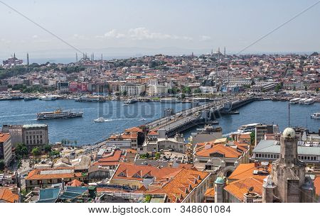 Top View Of Istanbul City And Galata Bridge In Turkey