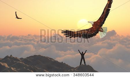 Man on a mountain peak. Eagle flies above clouds. Freedom. 3D rendering