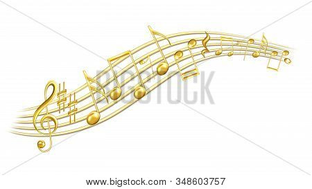 Music Melody Notes, Treble Clef And Sharp Vector. Minim And Crotchet, Quaver And Semiquaver, Beamed