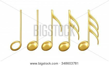 Musical Notes Signs In Golden Color Set Vector. Collection Of Classic Music Minim And Crotchet, Quav