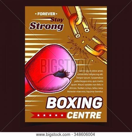 Boxing Sport Centre Advertising Banner Vector. Boxing Glove Break Chain. Sportsman Equipment For Com