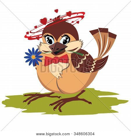 Vector Valentine Cartoon Vector Background With The Sparrow In Love, With Hearts