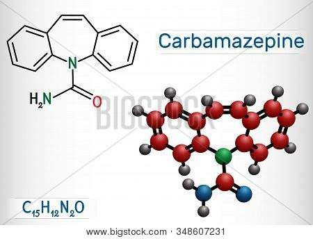 Carbamazepine, Cbz, C15h12n2o  Molecule. It Is Anticonvulsant And Analgesic Drug, Used In Therapy Of