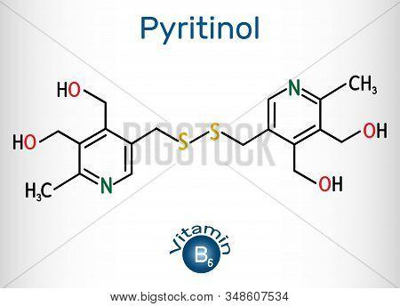 Pyritinol Molecule, Is A Vitamin B6. Structural Chemical Formula And Molecule Model