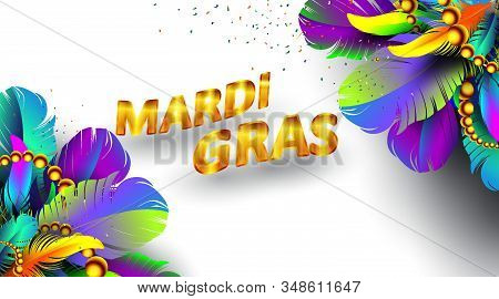 Mardi Gras Carnival Banner With Bird Feathers And Necklace Poster Isolated On White Background. Use